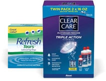 Contact Solution and Eye Drops boxes